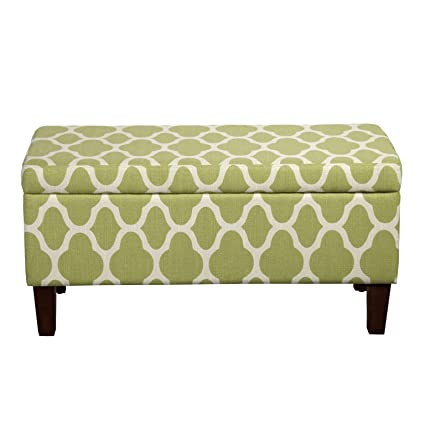 Fantastic Homepop Large Upholstered Rectangular Storage Ottoman Bench With Hinged Lid Green Geometric Uwap Interior Chair Design Uwaporg