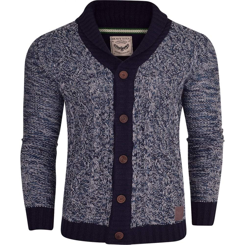 Brave Soul Men's Chunky Knit Shawl Collar Cardigan Cable Knitted Thick Winter Sweater Jumper