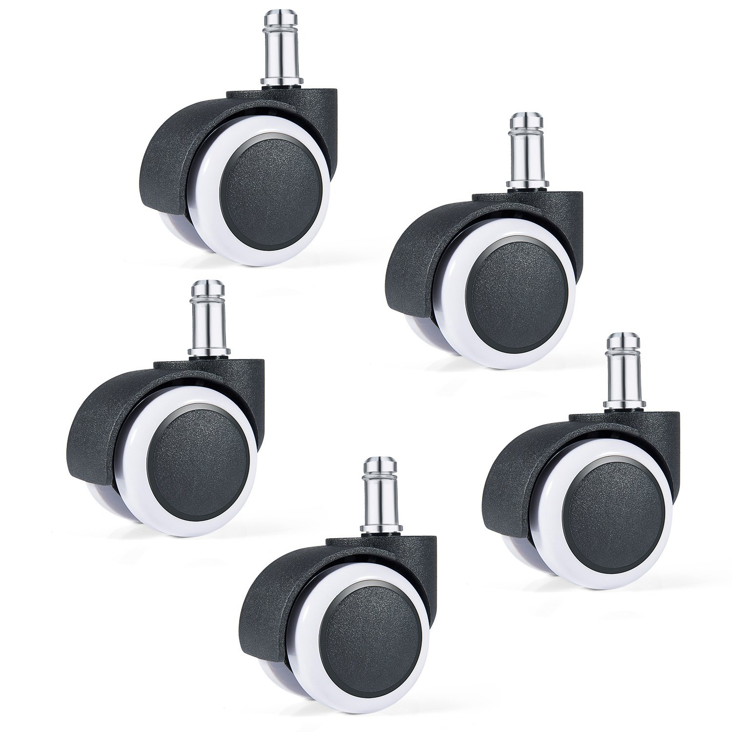 Diealles Caster Wheel Replacement, 11mm / 50mm Office Chair Castors Replacement Office Chair Wheels Office Chair - 5PCS