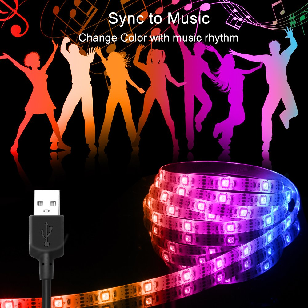 USB LED Strip Lights, Led Light Strip Sync to Music Led Lights with RF Remote Waterproof LED Strip Rope Lights USB Powered RGB LED Lights Flexible Color Changing Lights-7.5Ft/2.5M