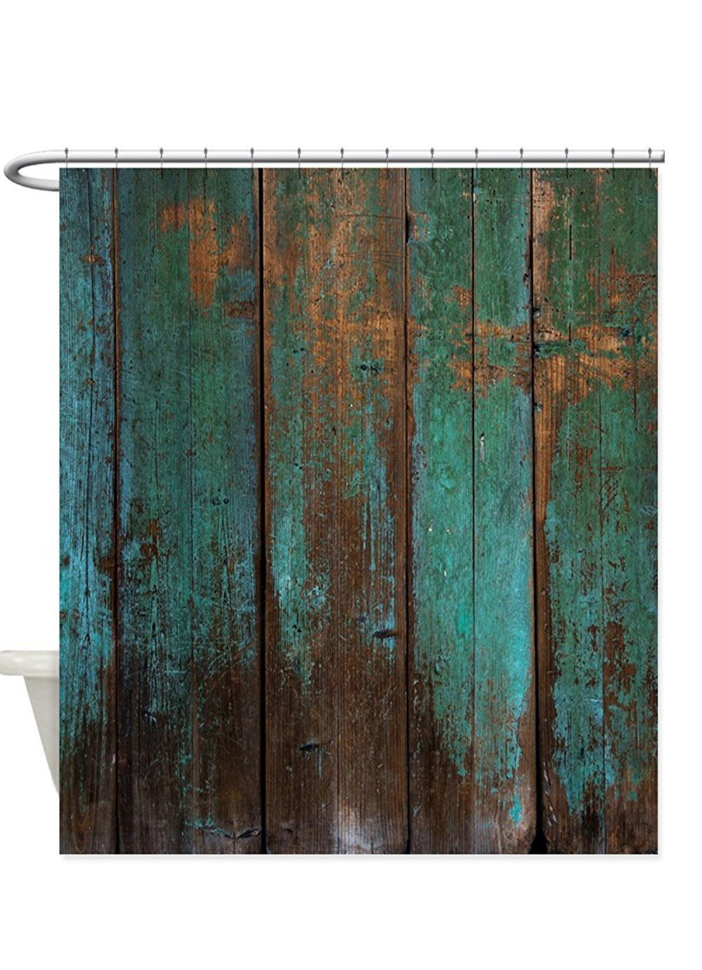 Country Rustic Distressed Teal Green Barn Wood Fa Waterprof Shower Curtain 66x72