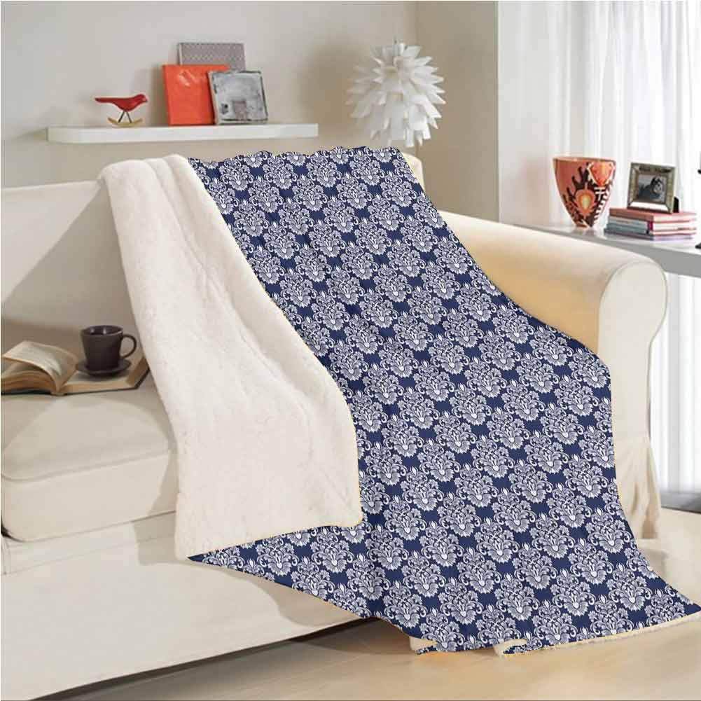 AKLSNTAJNFK Navy Blue Sherpa Blanket Abstract Floral Damask with Antique Victorian Design Renaissance Flourish for Bed/Couch/Sofa/Office/Camping Dark Blue Bayberry W59 xL47