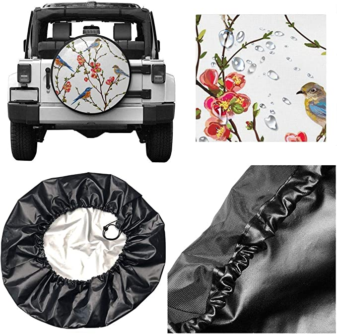 Moslion Butterfly Spare Tire Cover Watercolor Animal Bird Magical Fantasy Butterflies Waterproof Wheel Covers for Jeep Trailer RV SUV Truck Car Vehicles 14 Inch Purple Black