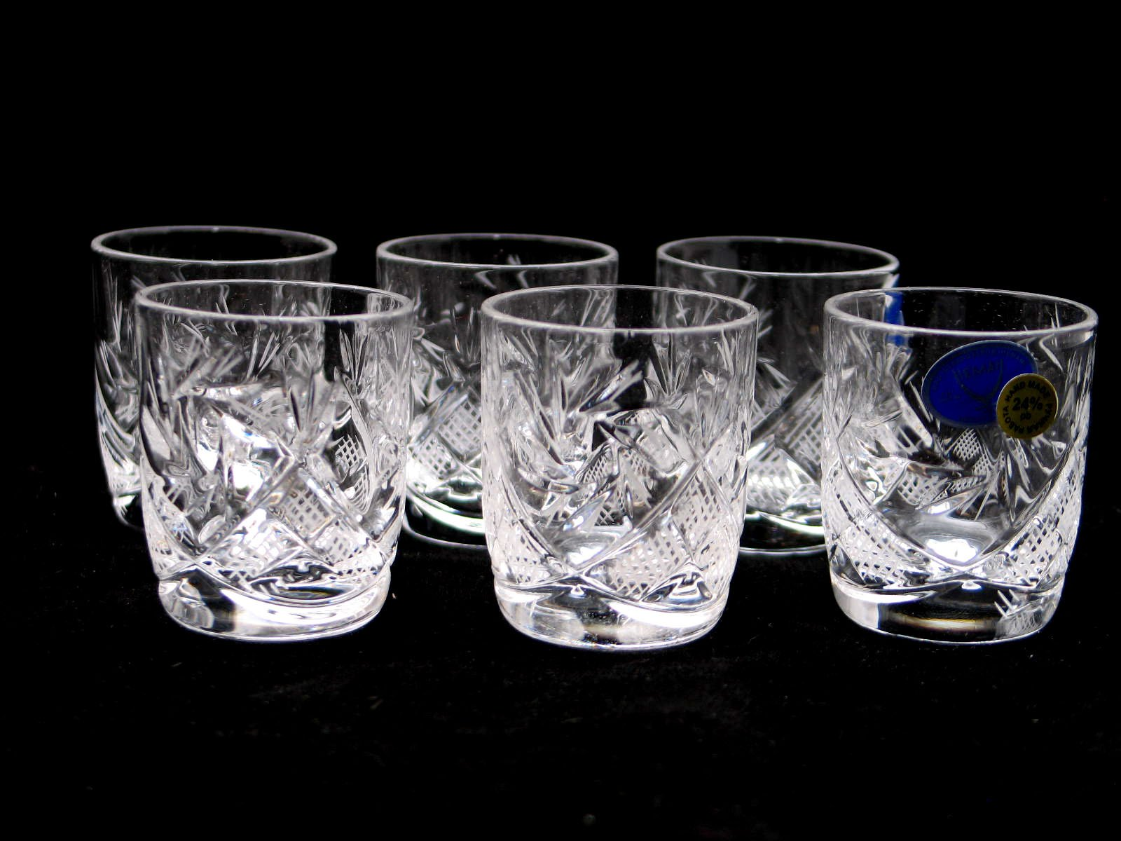 SET of 6 Russian Vintage CUT Crystal Stemless Shot Vodka Glasses 1.5 Oz / 50 ml, Old-fashioned Handmade European Crystal…