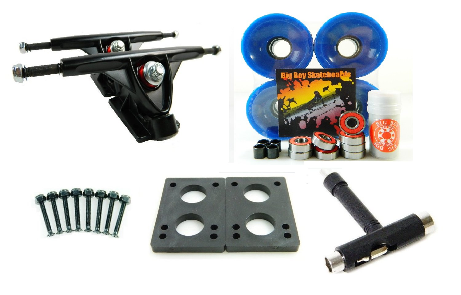 Big Boy 180mm Trucks 70mm Wheels T-Tool Combo (Black Trucks, Solid Blue) by Big Boy   B00NUDDPYW
