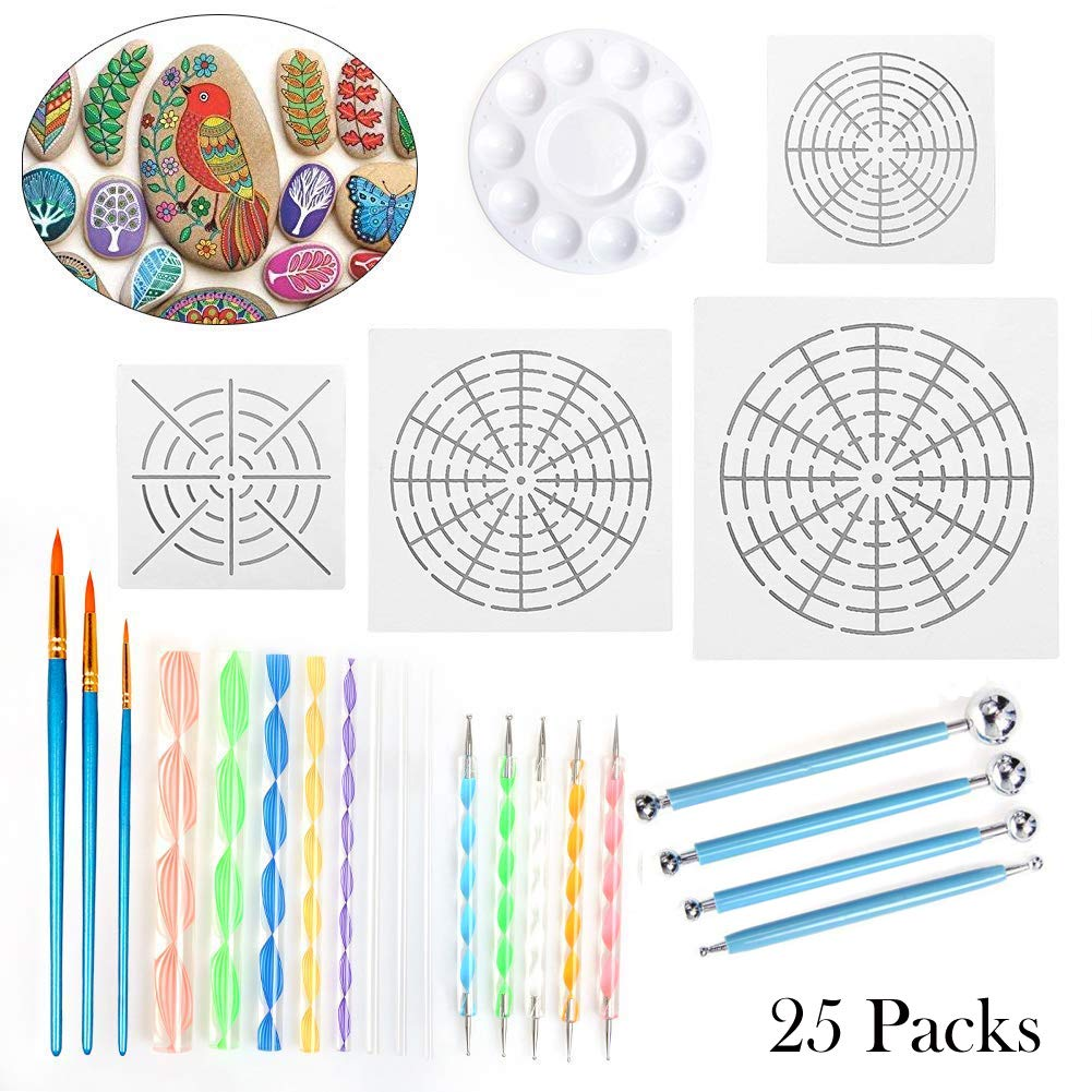 Mandala Dotting Tools for Painting Rocks, Includes Mandala Stencil, Mandala Dotting Pen, Paint Tray,Brush and Modeling Tools for Painting Rocks Pen Dotting Tools Kids' Crafts 25Pcs
