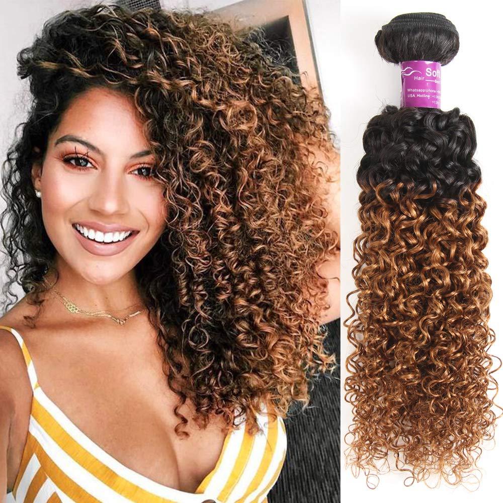 Amazon.com   Honey Brown Brazilian Hair Extension Real Brazilian Human Hair  Bundles Ombre Black to Brown Color Soft Kinky Curl Virgin Remy Human Curly  Hair ... dfa9b7babf4c