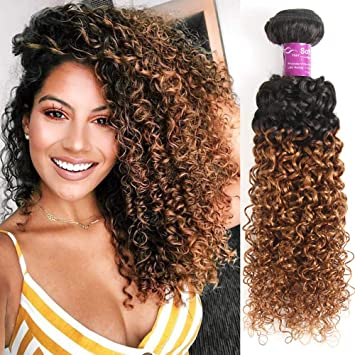 Honey Brown Brazilian Hair Extension Real Brazilian Human Hair Bundles Ombre Black To Brown Color Soft