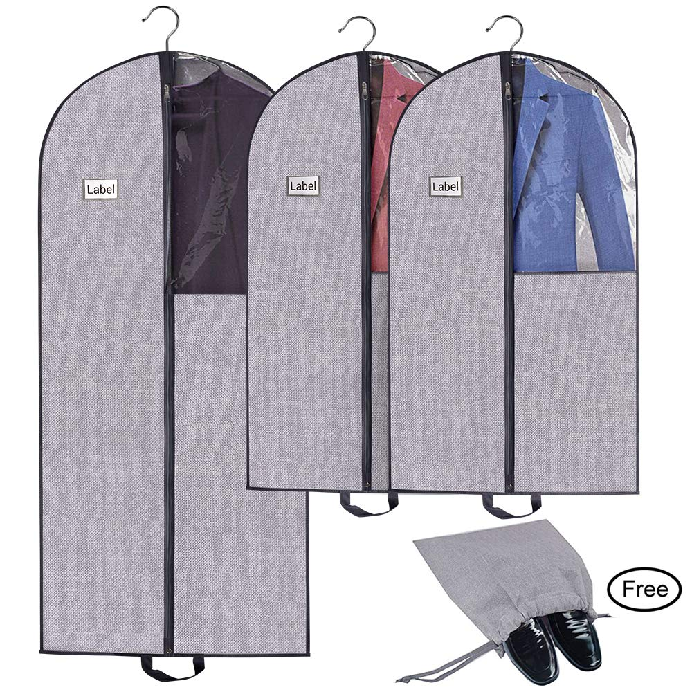 28cba5d02f52 Homyfort Travel Garment Bags for Suits,Breathable Storage Dresses Covers,  Easily Carrying with Strong Zipper & Clear Window for Clothes, Coats,Free  ...