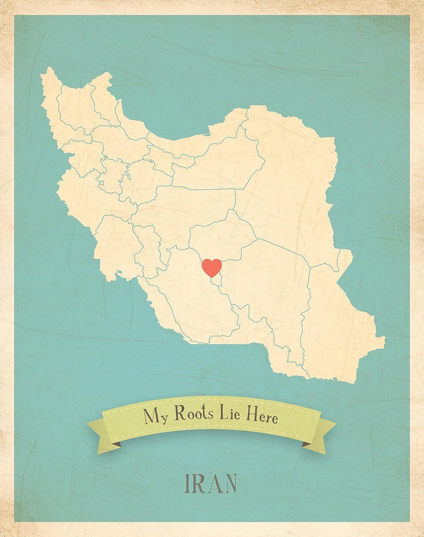 Mapa de Pared, mi raíces irán Personalizado Pared Mapa 11 x 14 ...