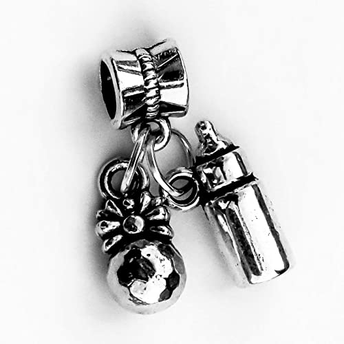 Amazon.com: Silver Baby Bottle and Rattle Charm European Style ...