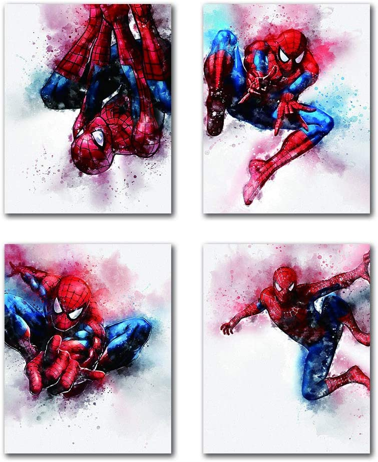 "HB-101 Cartoons Superhero Spiderman Avengers Marvel Art Prints Set of 4 (8""X10"" Canvas Picture) Used for Nursery Wall Poster Art Painting Kids Boys Birthday Gift Game Room Decor Frameless"
