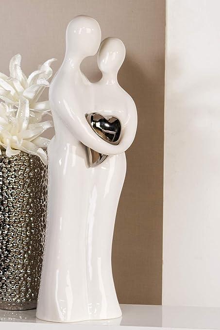 Figur Paar Aus Keramik Weiß Mit Silberfarbenem Herz H 51 Cm