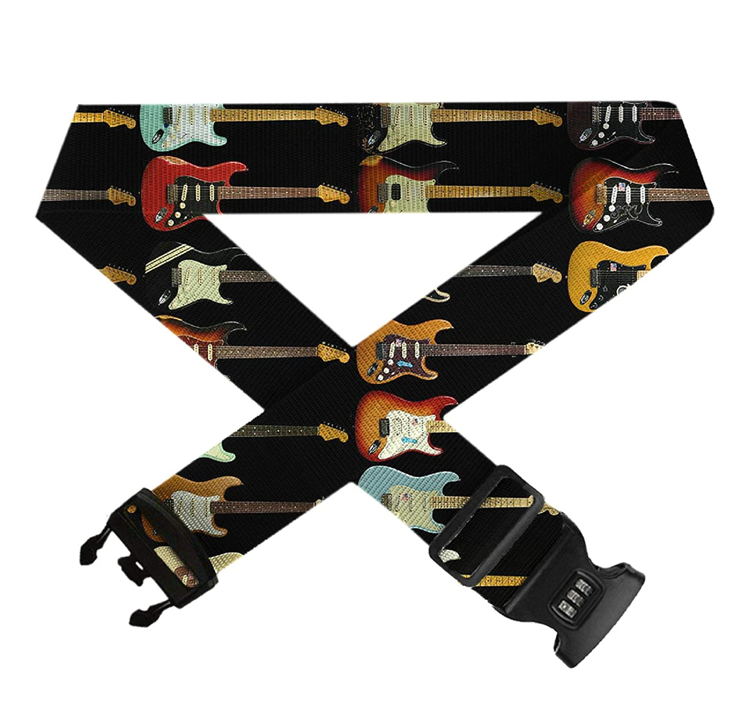 Electric Guitar TSA Approved Lock Heavy Duty Suitcase Straps Travel Belts Accessories 1-Pc GLORY ART Adjustable Luggage Strap