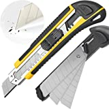 DOWELL Utility Knife Box Cutter Retractable Self Loading Heavy Duty Snap Off Quick Change Extra Blades(3PCS) TPR+PP Handle Cu