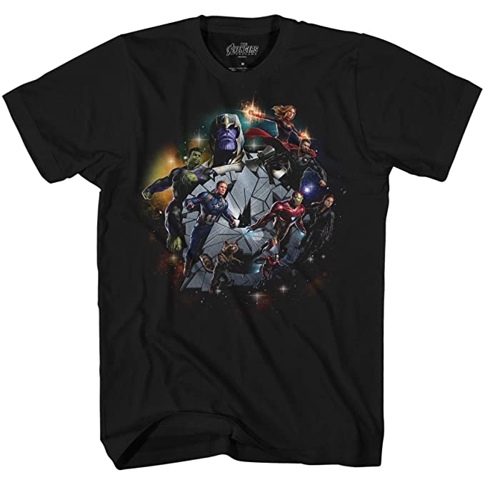3497a125 Marvel Avengers Endgame Exploding A Iron Man Captain America Graphic T-Shirt (Black,