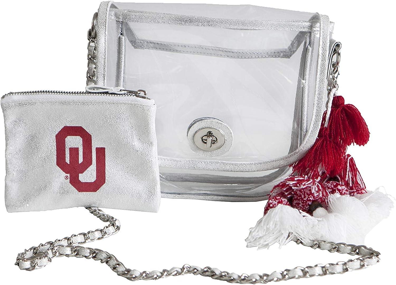 Oklahoma Sooners SHEERGEAR Womens Gameday Viviana Side Bag Small Silver