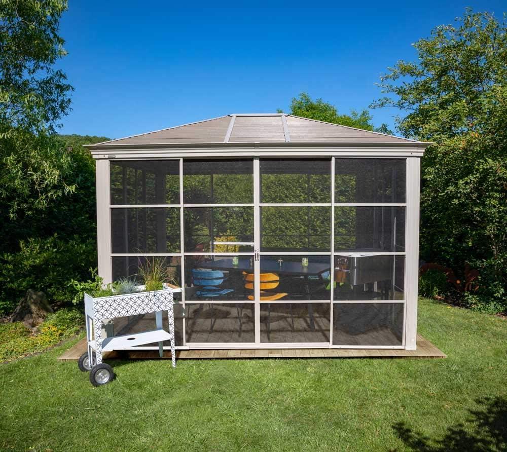 Sojag Striano - Cenador de aluminio (12 x 14 cm, 427 x 362 cm, con techo de acero): Amazon.es: Jardín