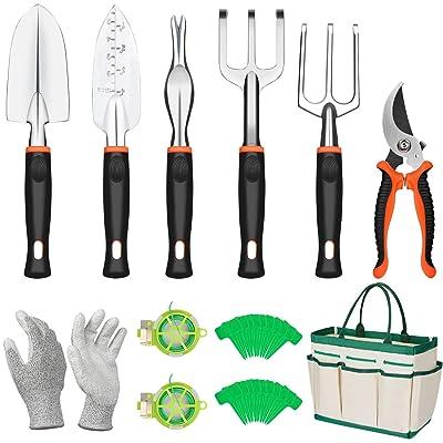COSYLAND Garden Tools Set 12 Pieces Gardening Hand Tool Kit, Durable Storage Tote Bag, Non-Slip Handle and Pruning Shears, Gardening Supplies Gifts for Men Women : Garden & Outdoor