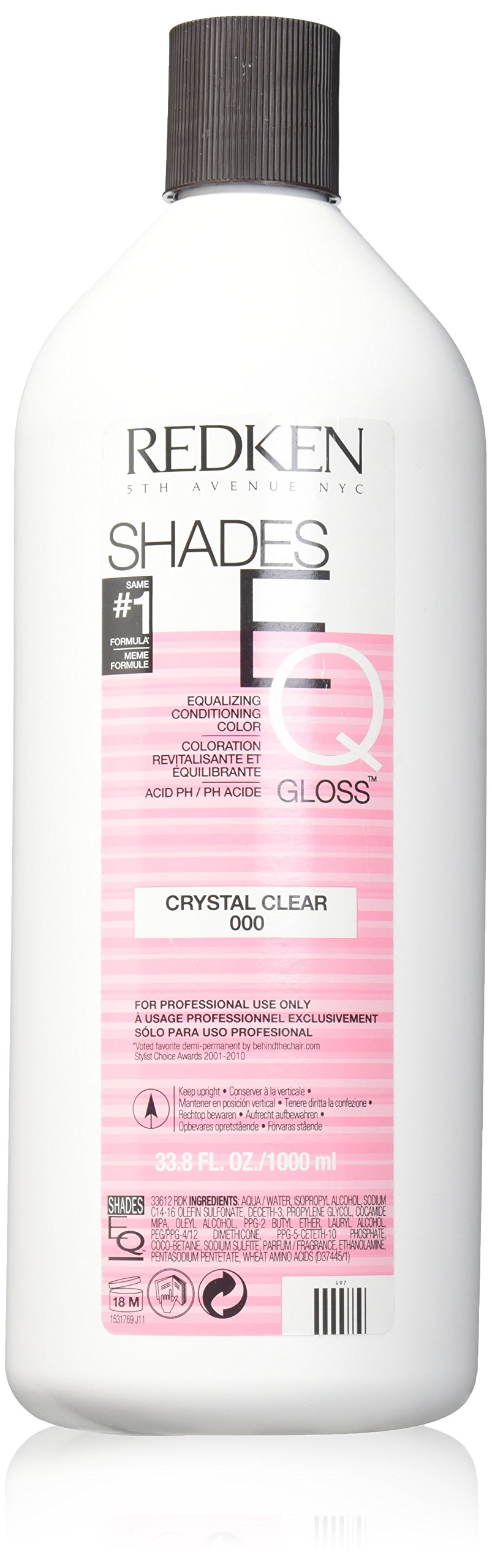Redken Shades EQ Color Gloss Hair Color for Unisex, 000 Crystal Clear, 33.79 Ounce