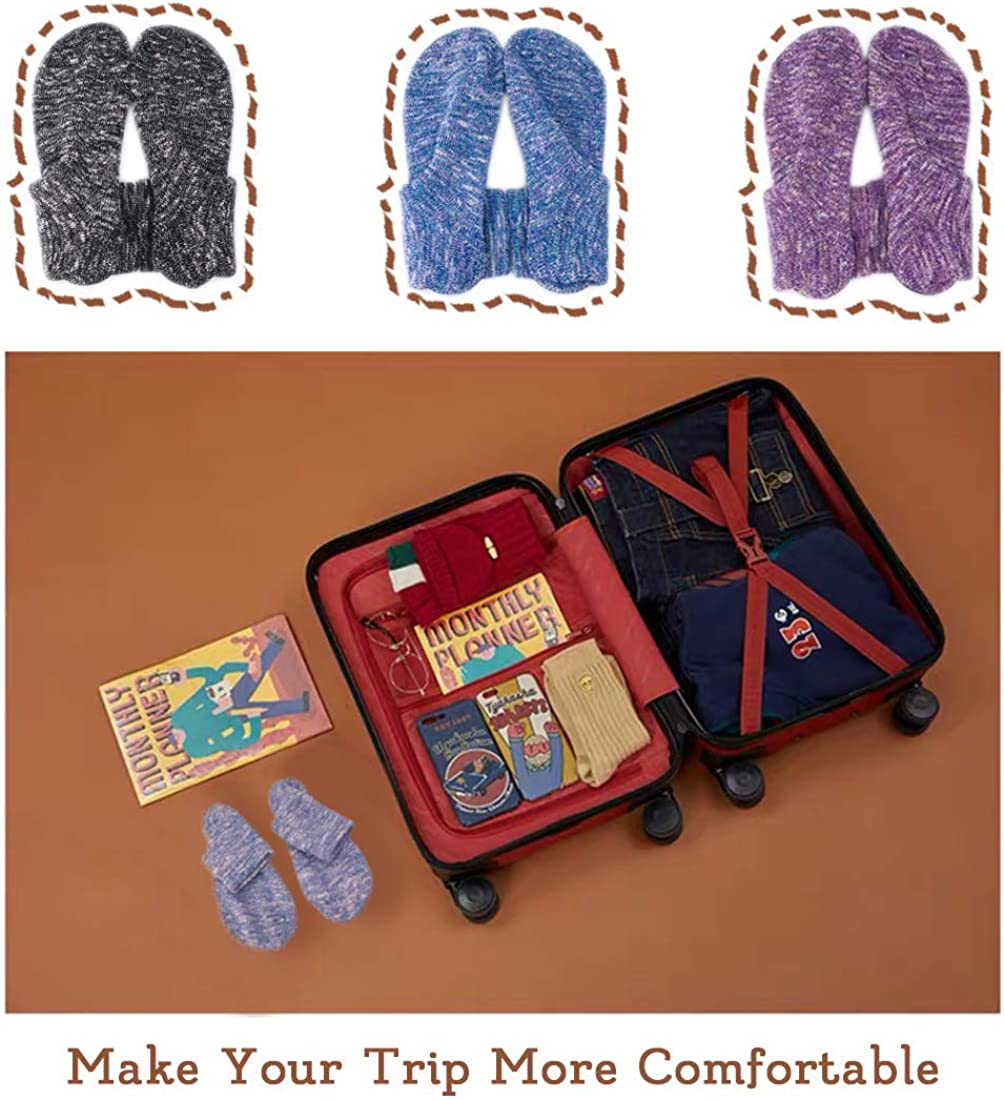 Zapatillas de Estar por Casa para Mujer Calcetines de Punto Antideslizantes Calcetines con Suela de Goma Blanda