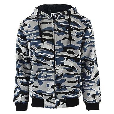 eedd85b54cc02 Eurogarment Heavyweight Sherpa Lined Camo Fleece Hoodie for Men Full Zip Up  Winter Grey Blue Green