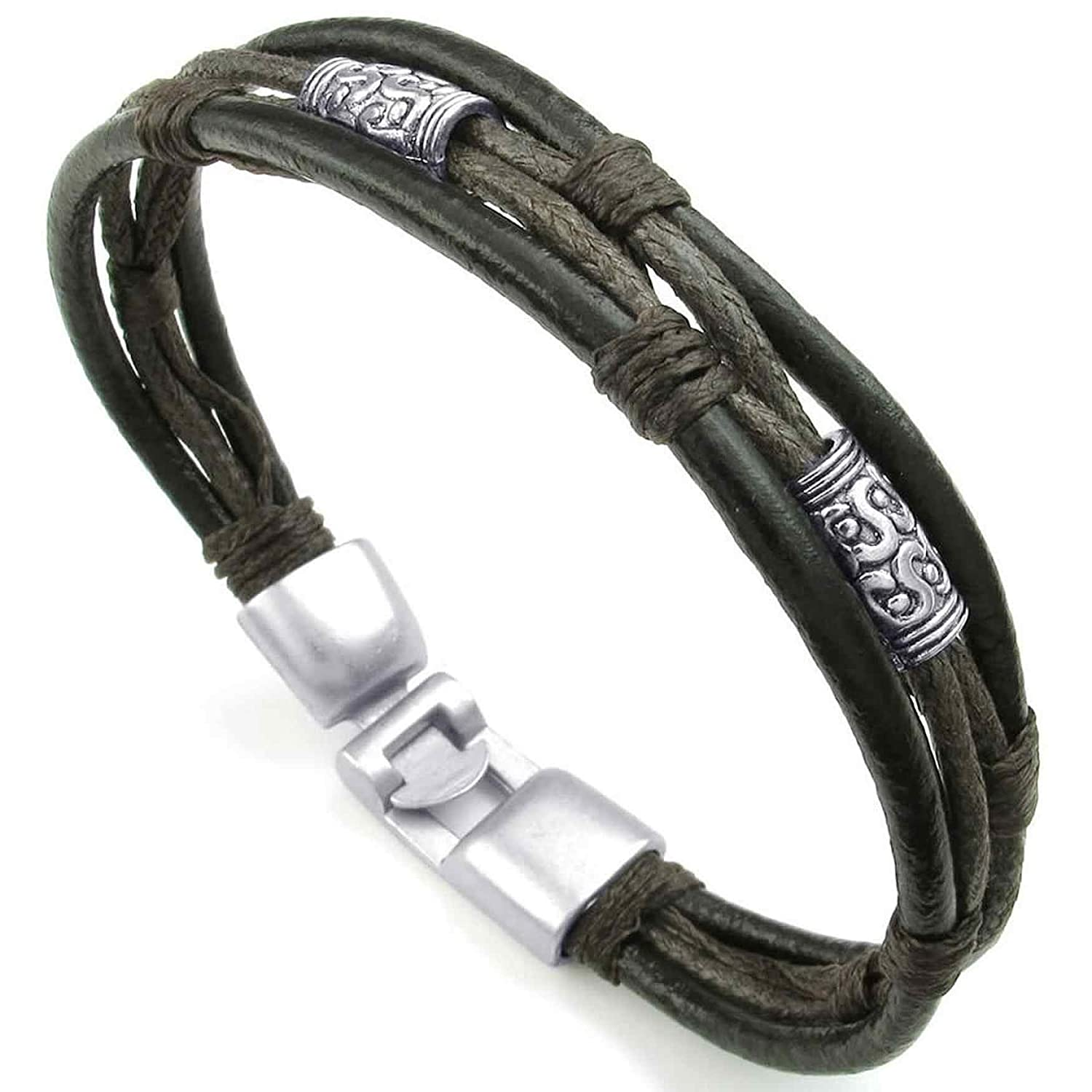 ANAZOZ Stainless Steel Black Cuff Bangle Brown Braided Rope Bracelet Tribal Leather Mens Womens Jewelry