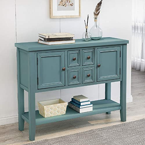 Buffet Table Kitchen Storage Buffet and Sideboard Console Tables with Four Storage Drawers Two Cabinets and Bottom Dark Blue