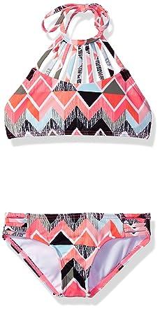 9d1df8656e919 Billabong Little Girls' Zigginz High Neck Two Piece Swimsuit Set, Multi, ...