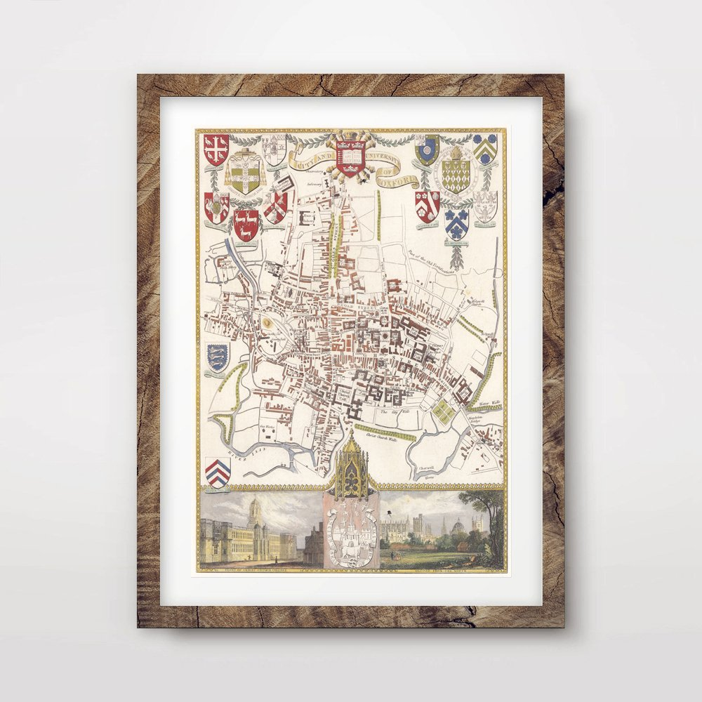10 Sizes OXFORD CITY VINTAGE MAP ART PRINT POSTER Britain British UK Antique Historical Home Decor Wall Picture A4 A3 A2