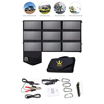 KYNG Power Foldable Solar Panel Charger Portable 60w Charger Solar Generator Panel Power Station Use with any Brand 18V Charging 5V USB 12V car charging/Camping, Emergency, Laptop, iPhone, Tablet, etc : Garden & Outdoor