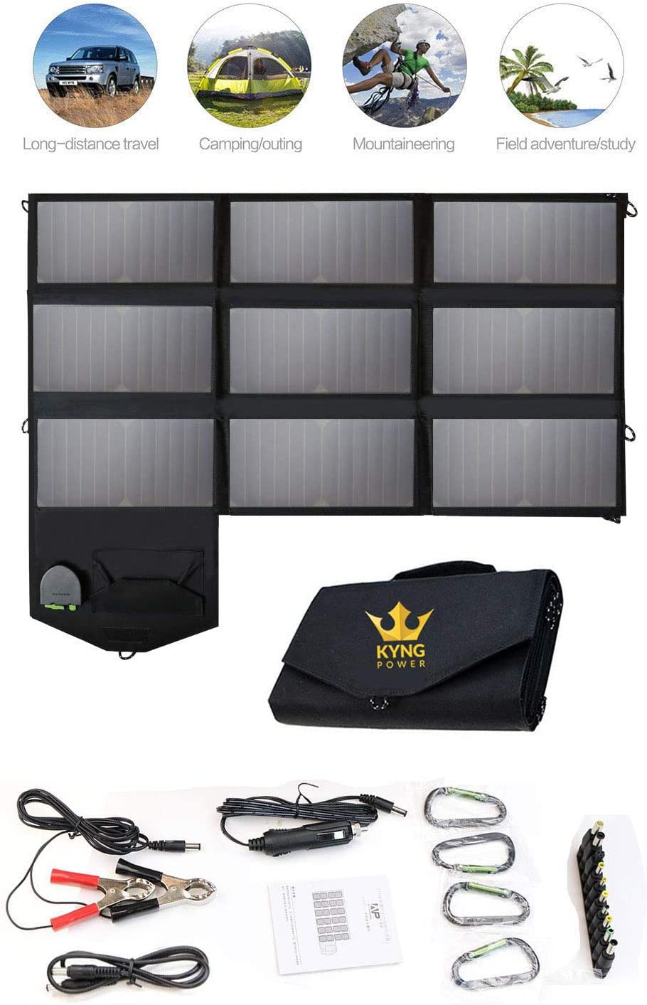 Kyng Power Foldable Solar Panel Charger Portable 60w Charger Solar Generator Panel Power Station Use with any Brand 18V Charging 5V USB 12V car charging Camping, Emergency, Laptop, iPhone, Tablet, etc