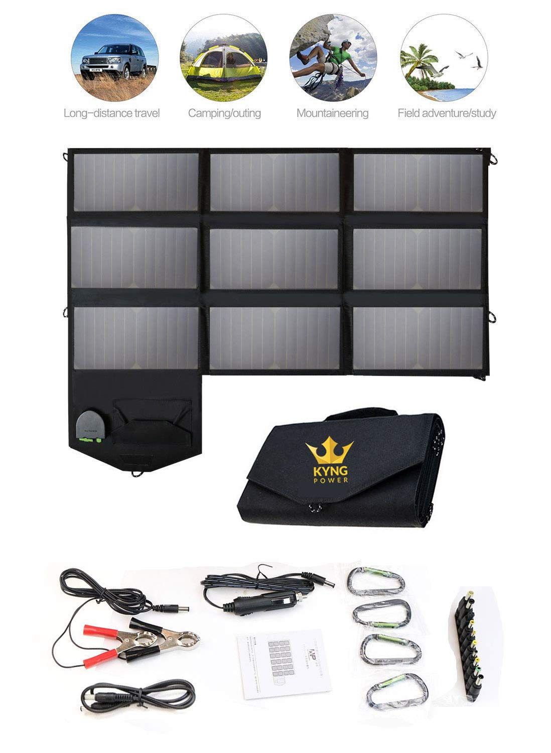 Kyng Power Foldable Solar Panel Charger Portable 60w Charger Solar Generator Panel Power Station Use with any Brand 18V Charging 5V USB 12V car charging/Camping, Emergency, Laptop, iPhone, Tablet, etc by Kyng Power