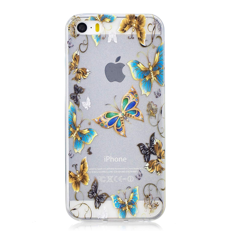 KunyFond Custodia Compatibile iPhone 5S//SE//5 Cover Silicone Tpu Morbida Gel Bling Glitter Paillettes Colorato Modello Design Trasparente Fiore Copertura Skin Flexible Difficile Bumper,Panda Carino