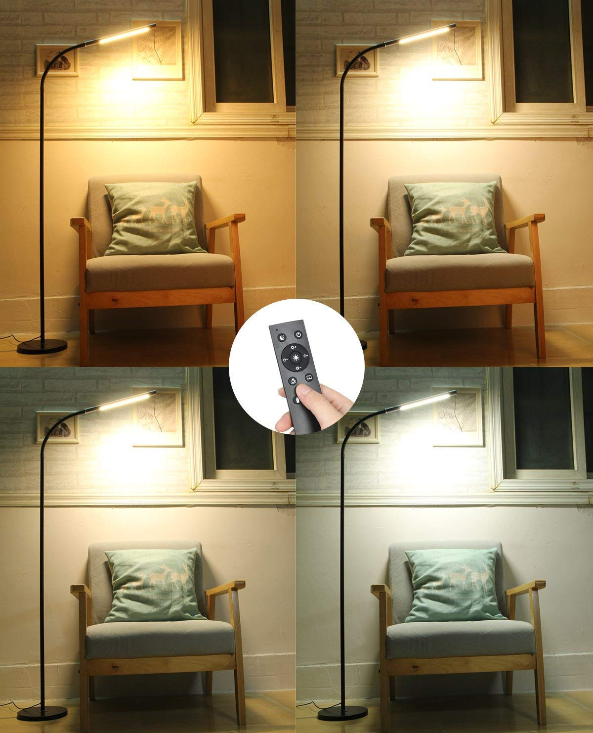 12W Eye-care Dimmable Remote Control /& Sensor Touch Switch Perfect for Reading Bedroom Living Room Sumerflos LED Floor Lamp Office Colors and Brightness Stepless Dimming