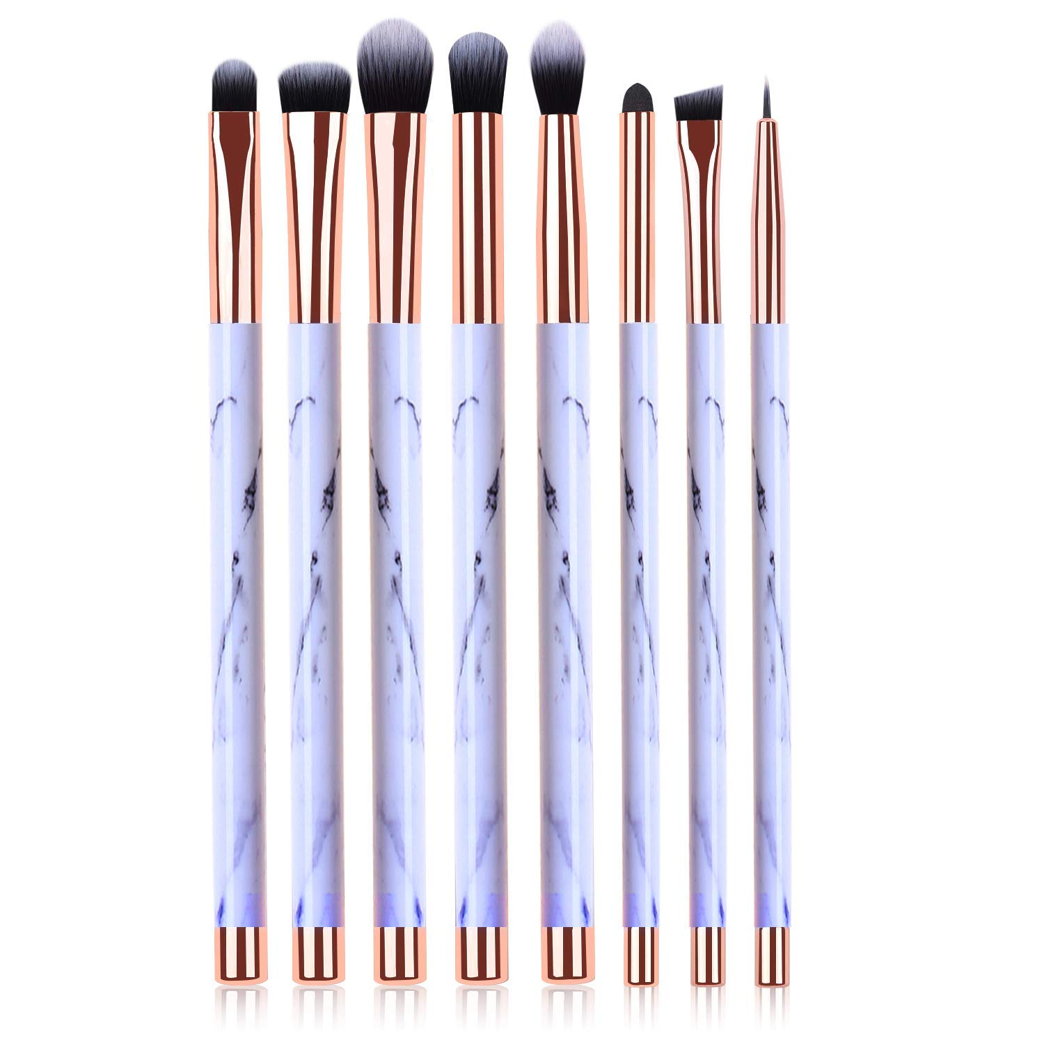 Makeup Brushes, 8pcs Marble Eye Makeup Brush Set for Premium Synthetic Eeyshadow Eyebrow Eyeliner Blending Concealer Contour Make Up Brushes Kit Real Perfection