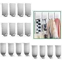 Adhesive Hooks, 16-Pack Heavy Duty Wall Hooks Stainless Steel Waterproof Hangers for Kitchen, Bathroom, Bags, Towel…