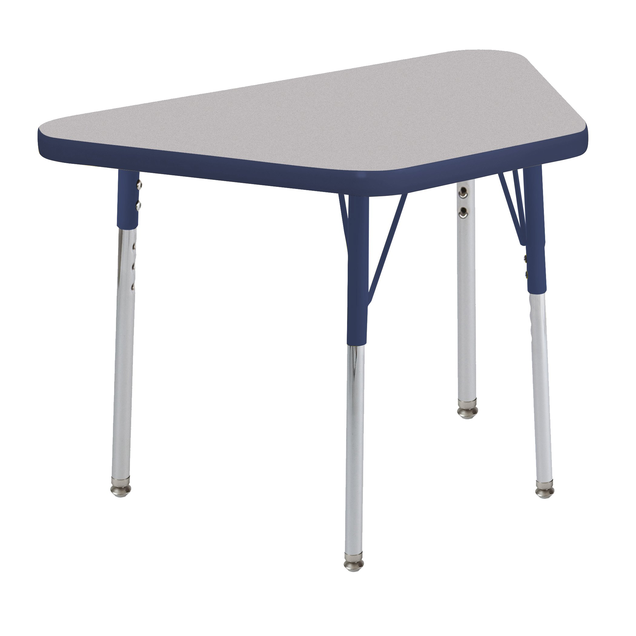 ECR4Kids Everyday 18'' x 30'' Trapezoid Activity School Table, Standard Legs w/Swivel Glides, Adjustable Height 19-30 inch (Grey/Navy)
