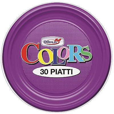 'Piatti' Assiettes en plastique dur de couleur DoPla 30 Pièces-Pourpre