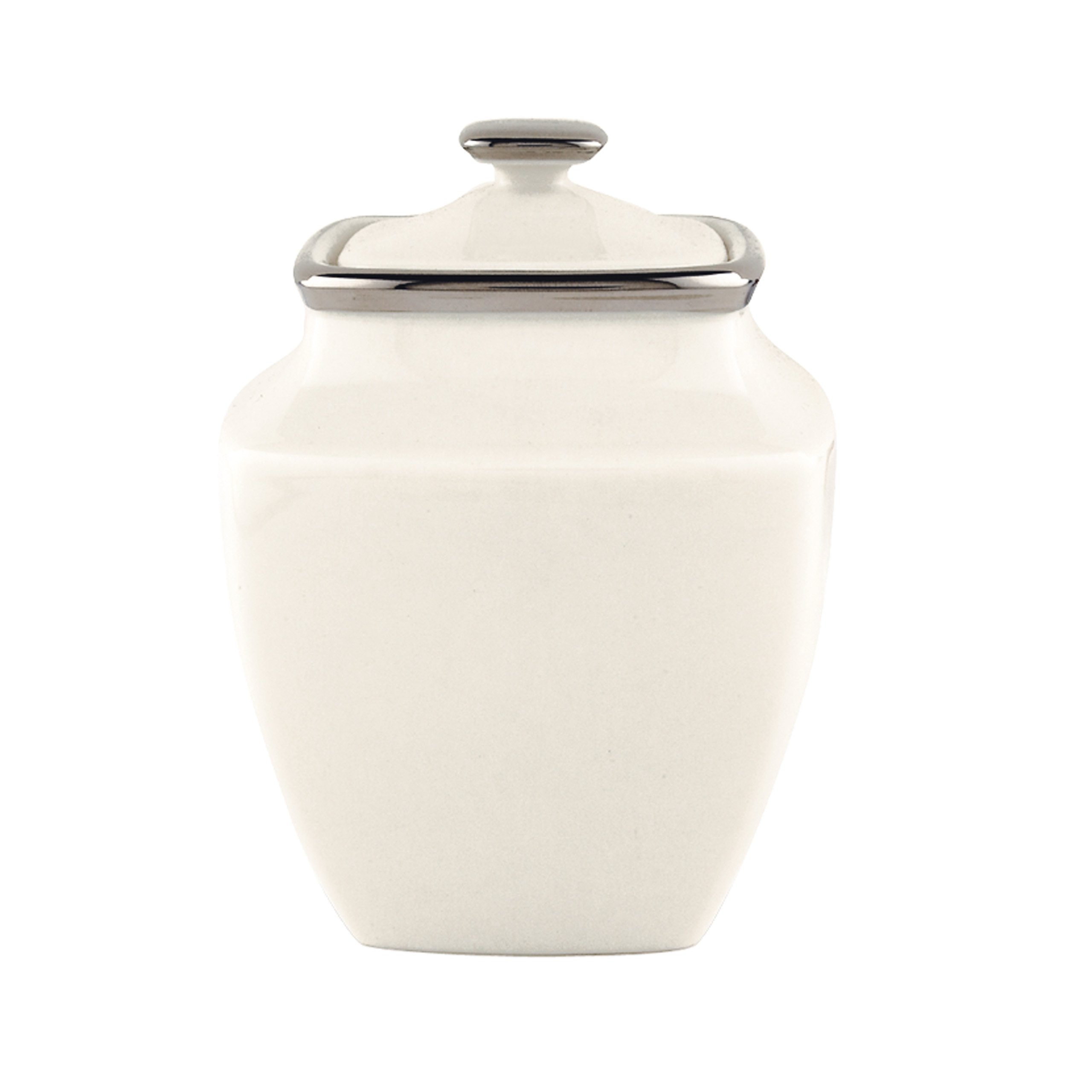 Lenox Solitaire Square Sugar Bowl, Ivory and Platinum