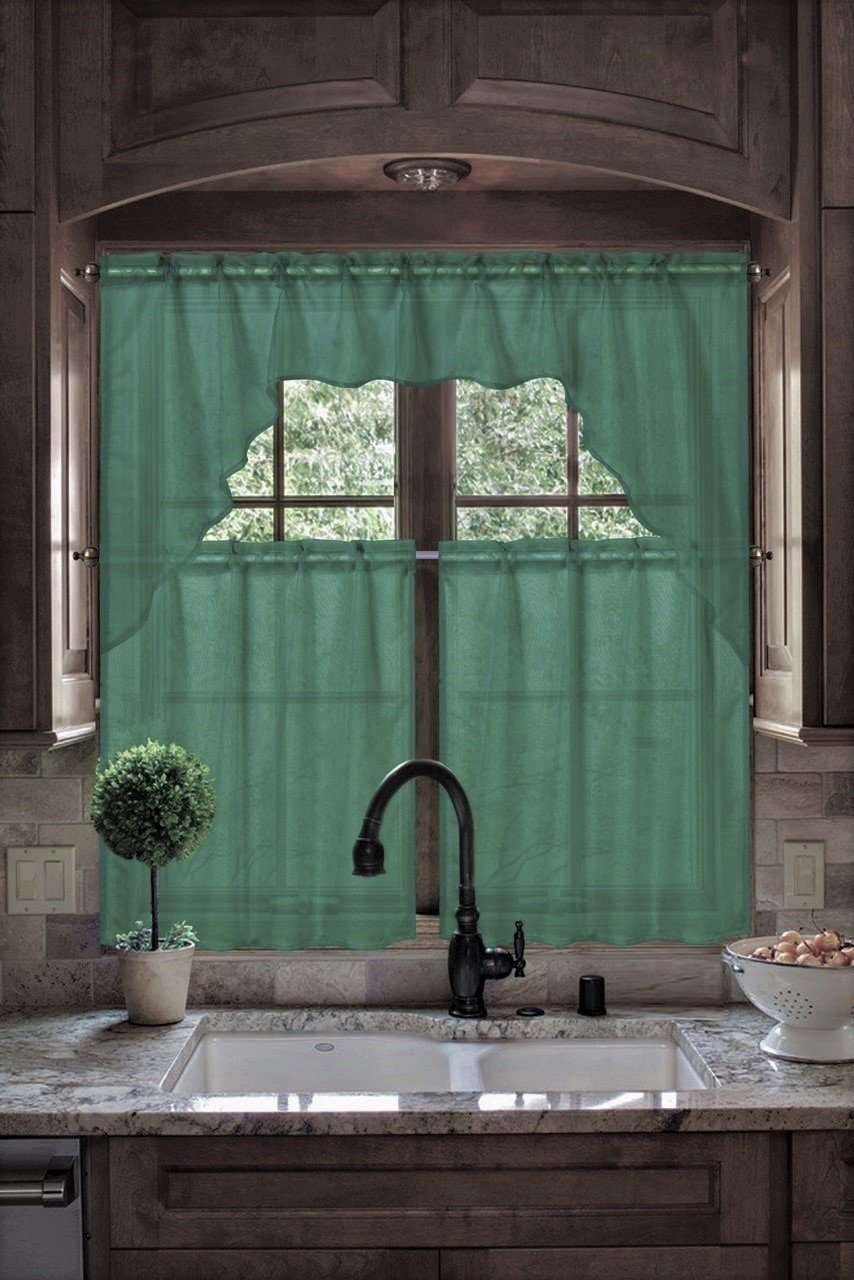 GorgeousHomeLinen (#66) New Kitchen Collection 3pc Set Voile Sheer Kitchen Curtain Window Dressing in Solid Colors (BLACK) Gorgeous Home Linen