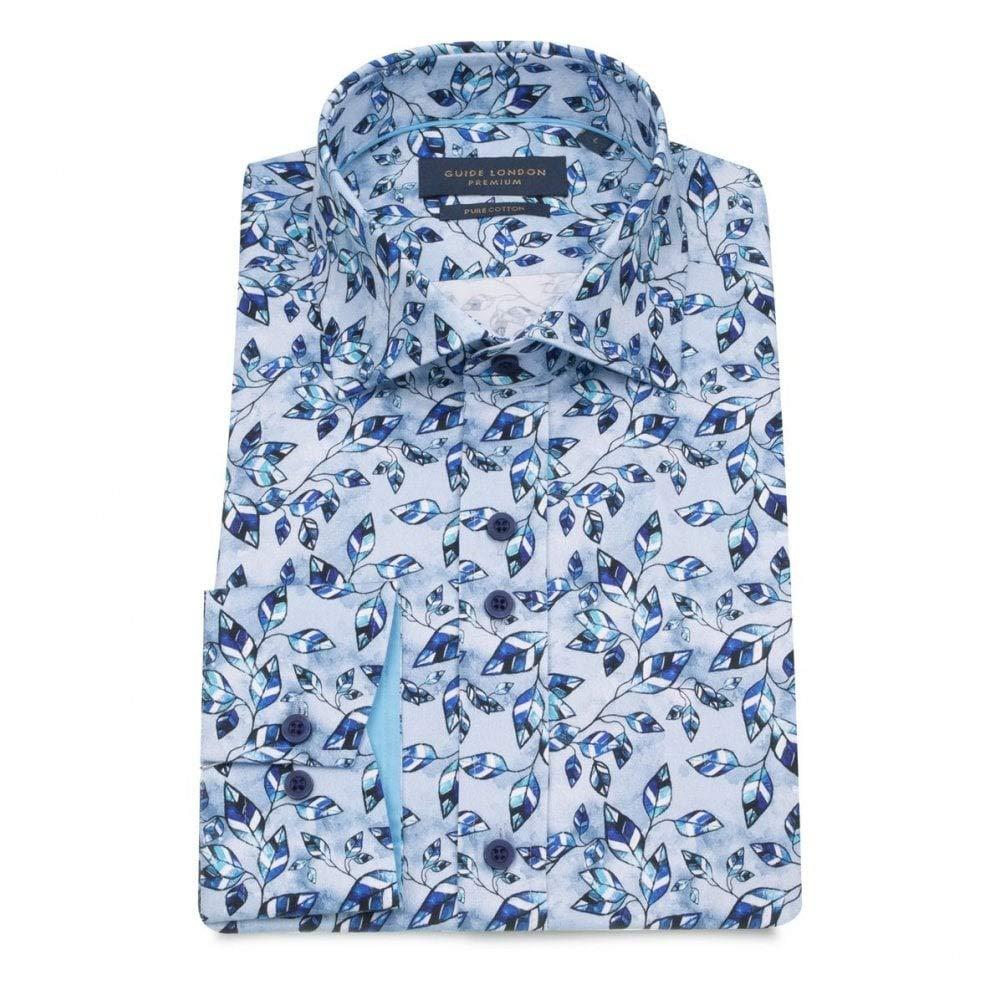 bleu XXL Guide London Nuances Bleues Laisse Imprimer Coton Pur Chemise à Manches Longues Homme