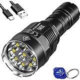 NITECORE TM9K 9500 Lumen 5000mah USB-C Quick Charge Rechargeable LED Flashlight and LumenTac Keychain