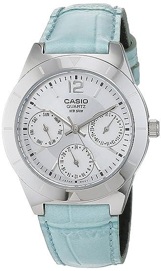 c1e5373c7bb0 Casio Reloj Multiesfera para Mujer de Cuarzo con Correa en Piel LTP-2069L-7A2VEF   Amazon.es  Relojes