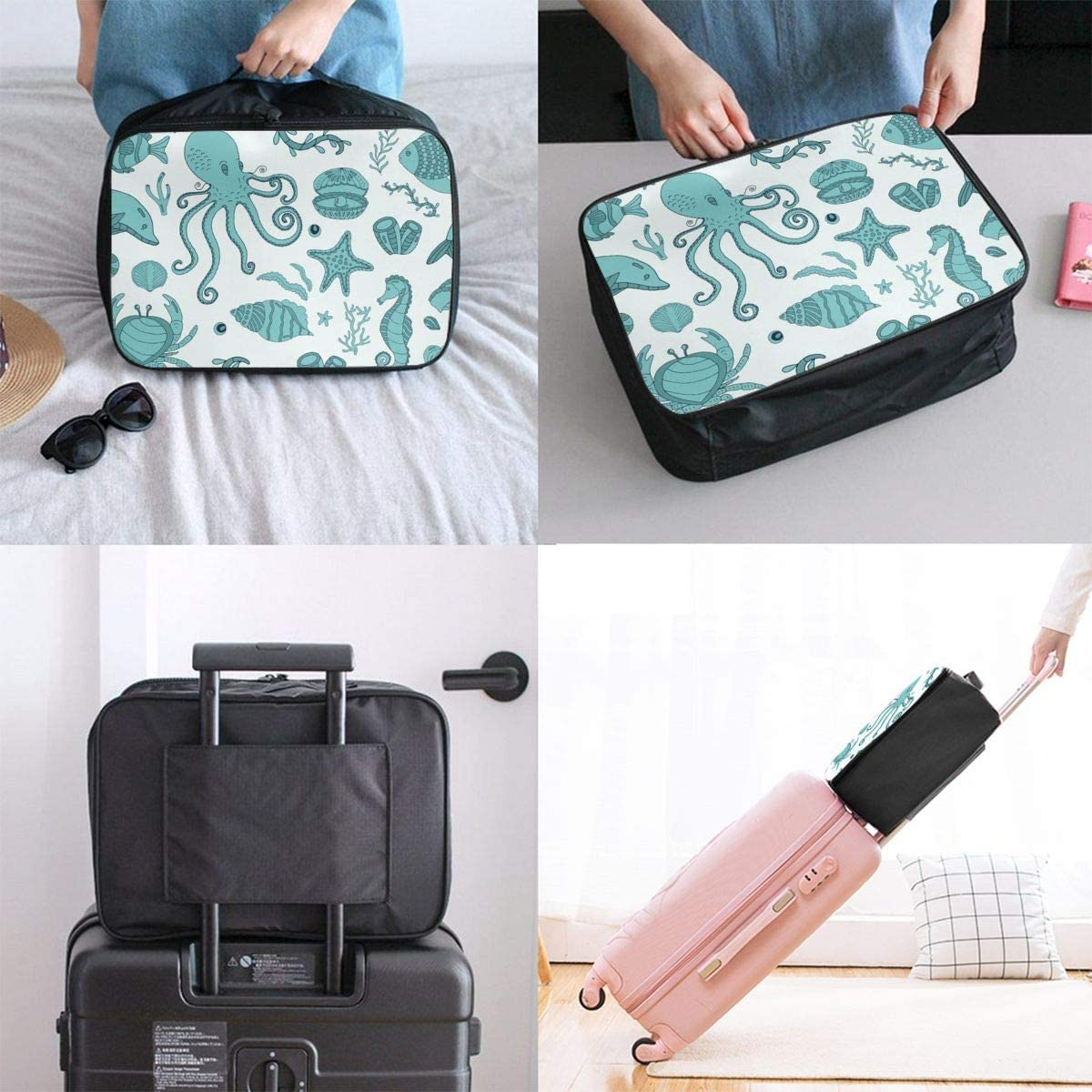 Yunshm Embroidery Dragons And Flowers Peonies Classical Asian Dragons Trolley Handbag Waterproof Unisex Large Capacity For Business Travel Storage