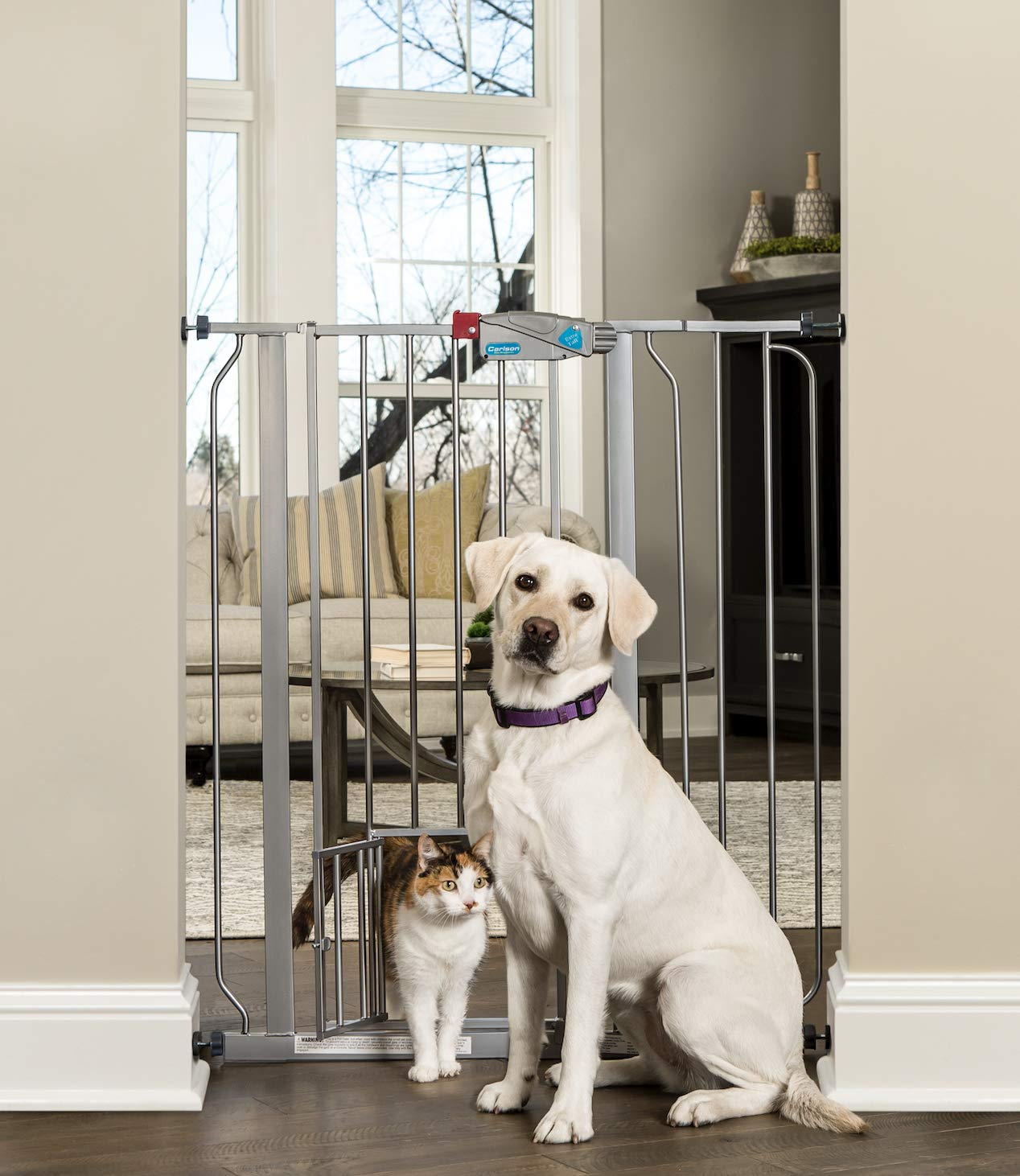 Carlson Extra Tall Walk Through Pet Gate with Small Pet Door, Includes 4-Inch Extension Kit, 4 Pack Pressure Mount Kit and 4 Pack Wall Mount Kit, Platinum