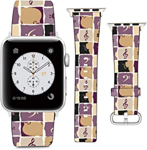 Compatible with Apple Watch Wristband 42mm 44mm, (Music Note) PU Leather Band Replacement Strap for iWatch Series 5 4 3 2 1