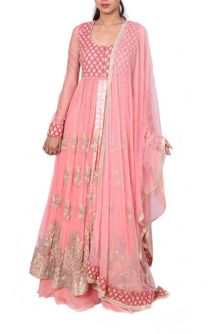 Anju Agarwal Royal Peach Jacket Lehenga Set by Saris and Things
