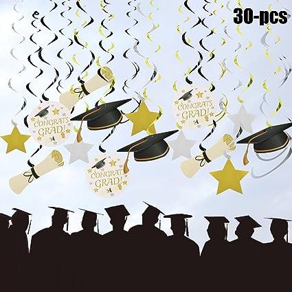 8198978041782 Funpa Graduation Hanging Decorations, Graduation Party Supplies 2018 | 30  Pcs Grad Hanging Decorations Star/Mortarboards/Diplomas Ceiling Foil Swirls