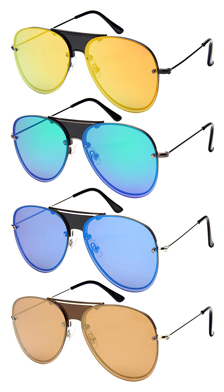 Edge I-Wear Mens Modern Aviators w//Color Mirror Lens 1204-FLREV